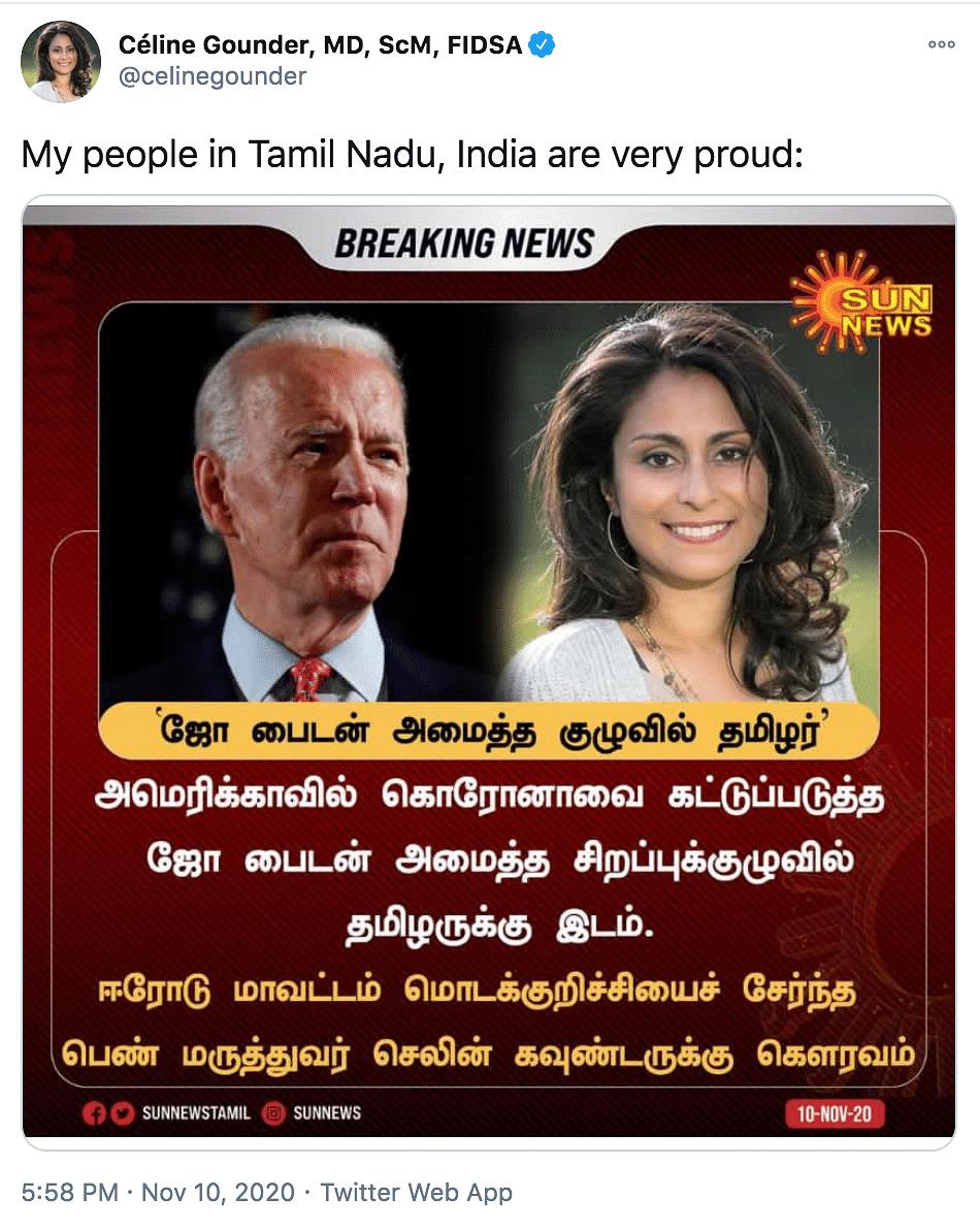 Céline Gounder of Tamil Origin Part of Biden's COVID-19 Task Force