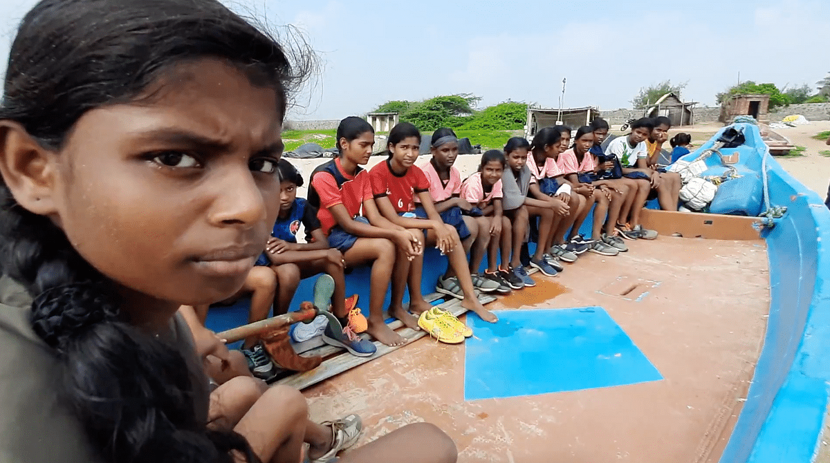 Sathish Kumar is training young girls of 6-13 years of age living in fishing hamlets in Koovathur, in kabaddi.