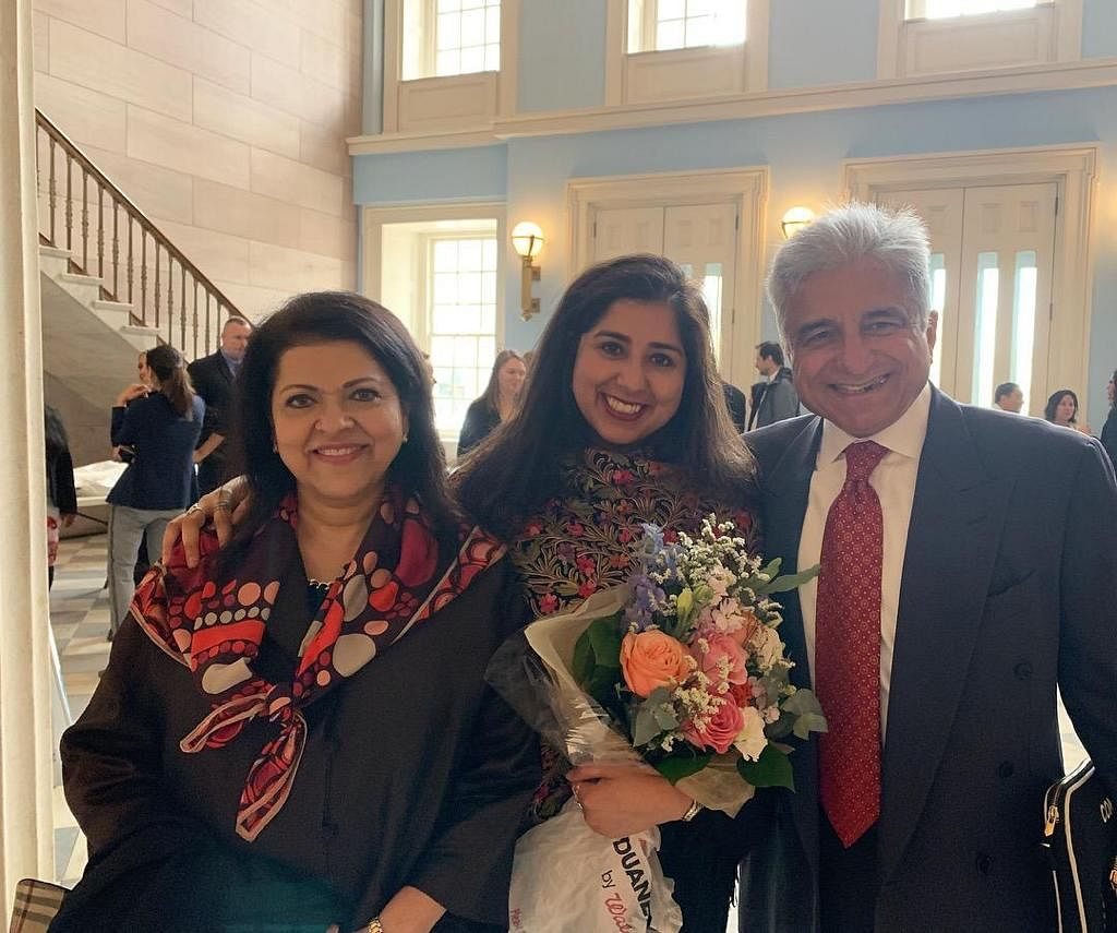 The author with her parents.