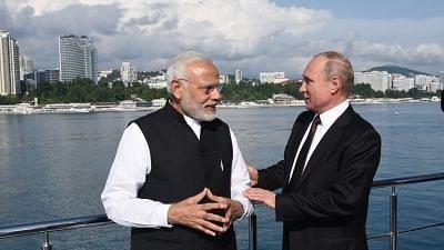 Sochi: Prime Minister Narendra Modi with the Russian President Vladimir Putin in Sochi, Russia on May 21, 2018.