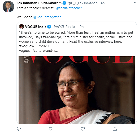 Twitter Celebrates as KK Shailaja Graces The Cover of Vogue India