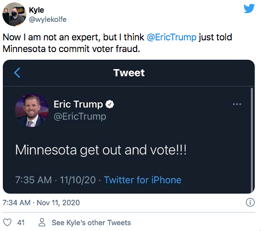 Eric Trump Trolled For Asking People To Vote a Week After Election