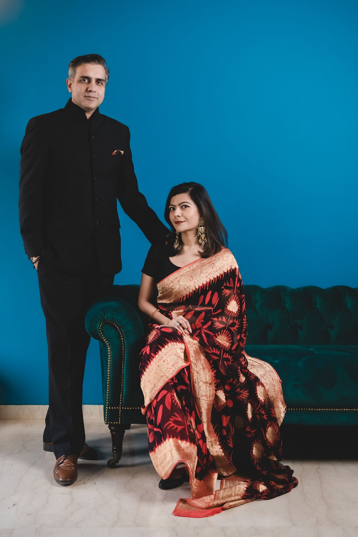 Author's engagement photo in her mother's saree.