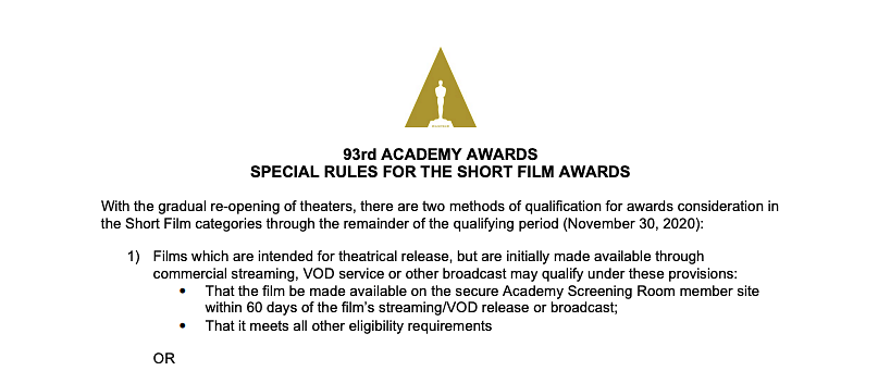A screenshot from the Academy's rules for short film awards.