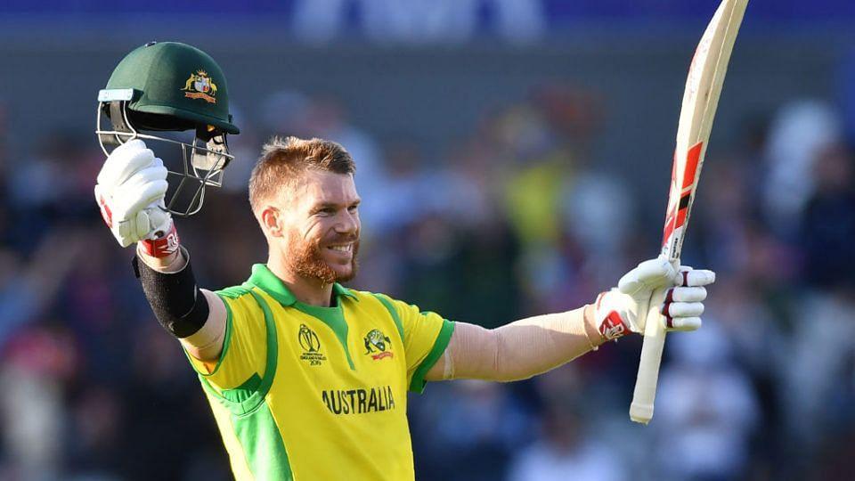File: David Warner celebrates a milestone during the 2019 ODI World Cup