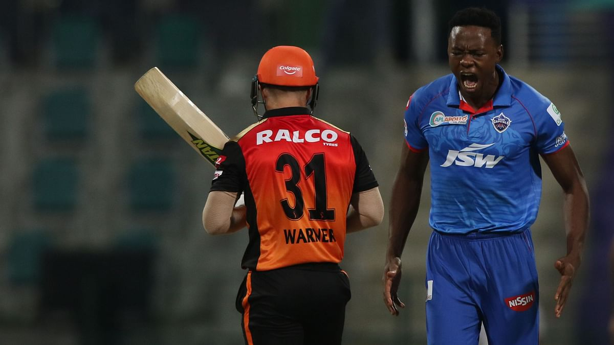Kagiso Rabada celebrates the wicket of David Warner.
