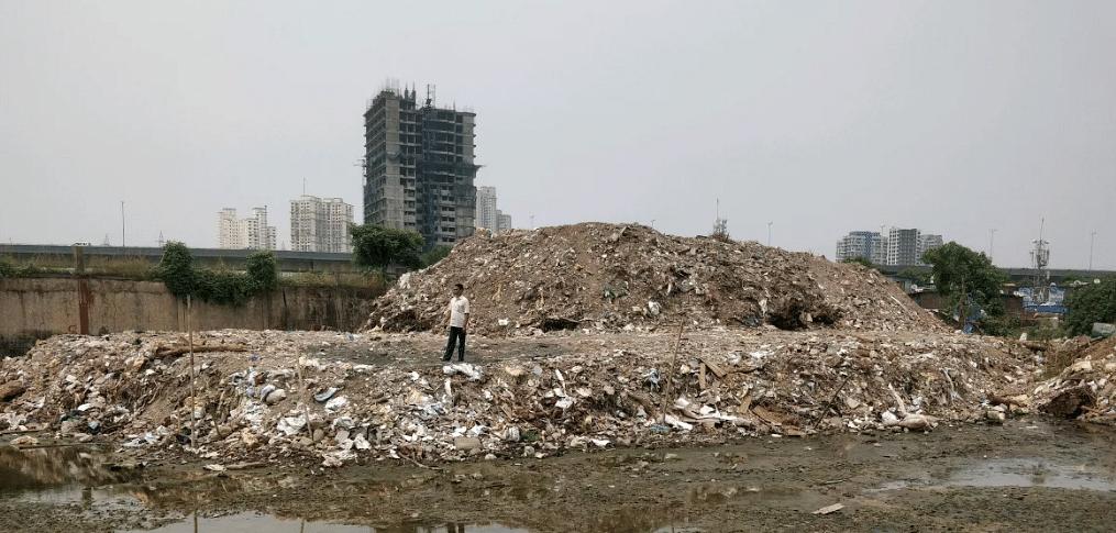 Piles of debris.