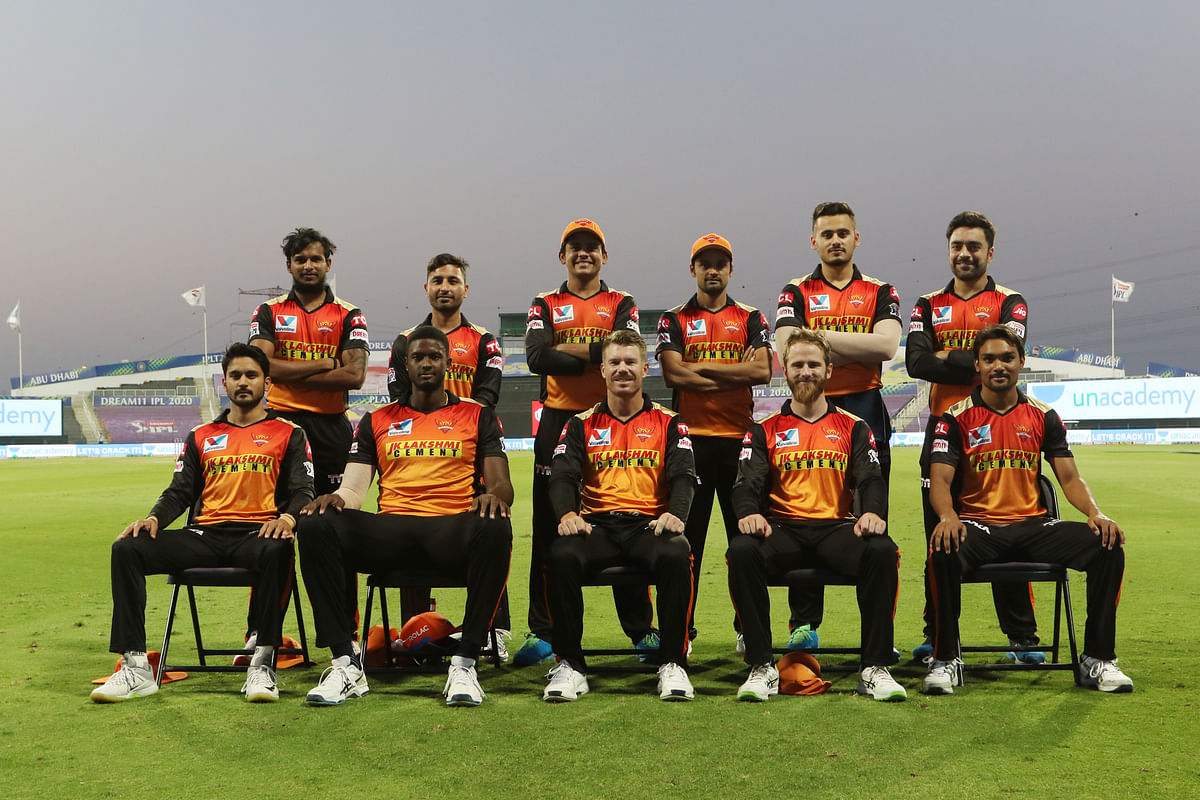 Sunrisers Hyderabad take a team picture before their match against Royal Challengers Bangalore at the Sheikh Zayed Stadium, Abu Dhabi.
