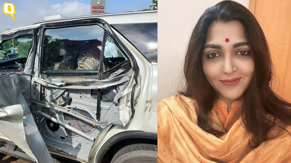 Actor-politician Khushbu Sundar met with an accident while she was on her way to Cuddalore to join BJP's Vel Yatra.