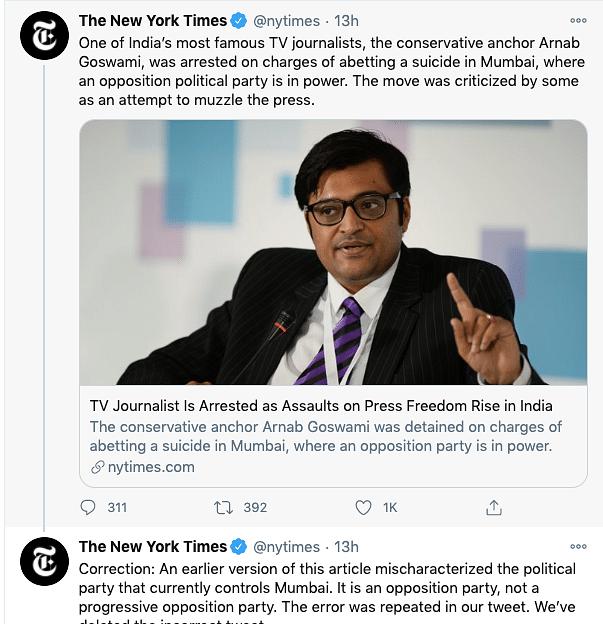 'Progressive' Shiv Sena? NYT Gets Flak for Arnab Tweet, Deletes It