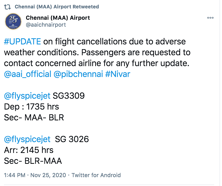 Cyclone Nivar: Buses, Flights & Trains Cancelled to & From Chennai