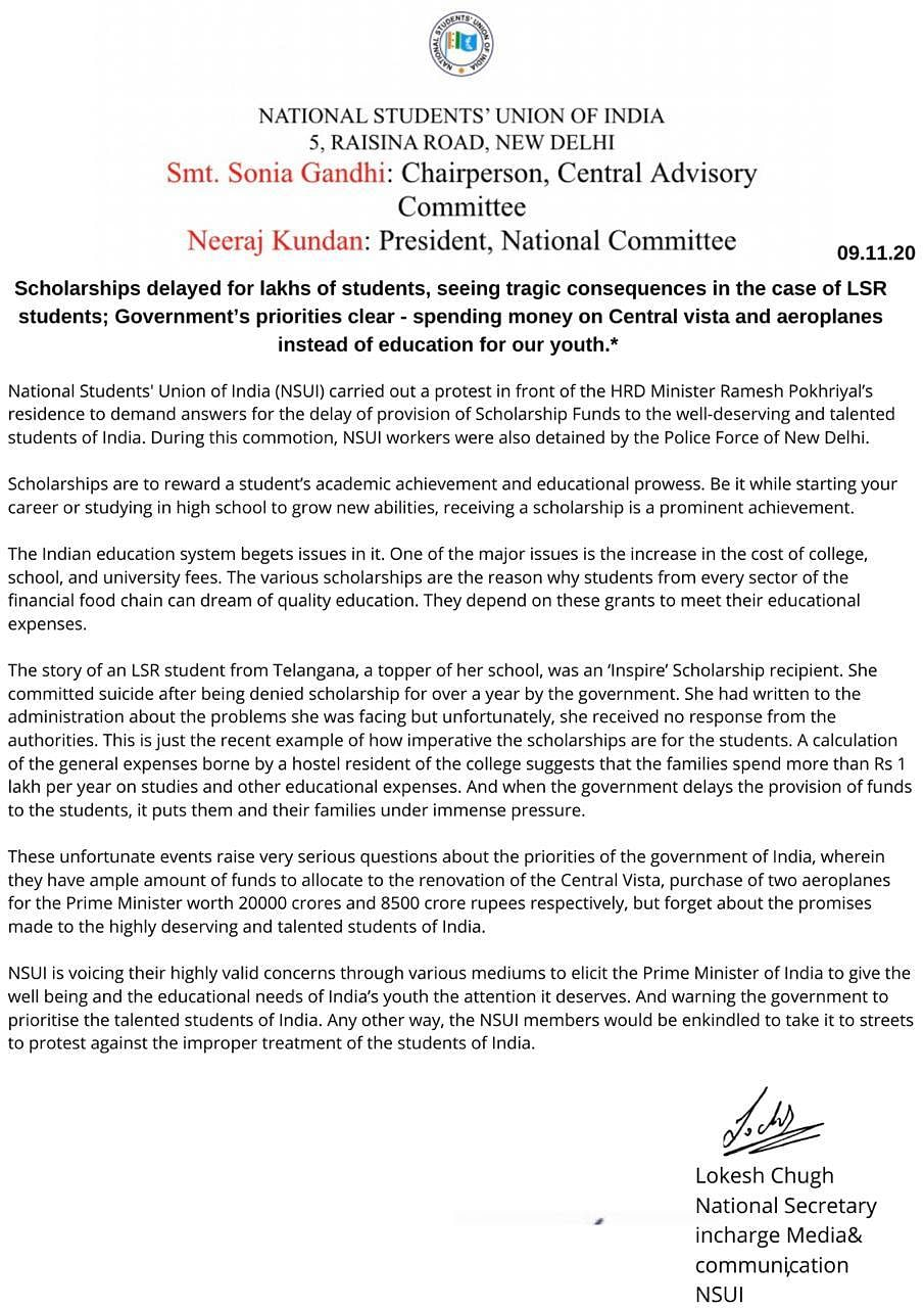Statement from NSUI