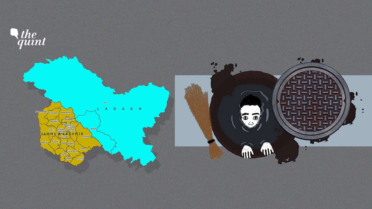 Image of manual scavenging and the new maps of J&K and Ladakh used for representational purposes.