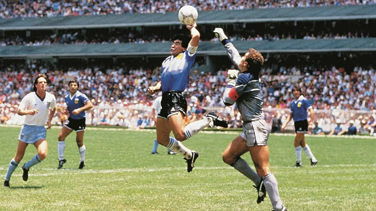 The Hand of God Goal from the 1986 World Cup.
