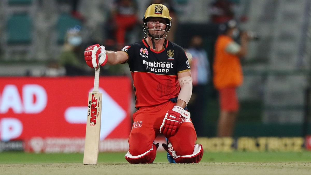 An exhausted AB de Villiers during his half century against SRH.