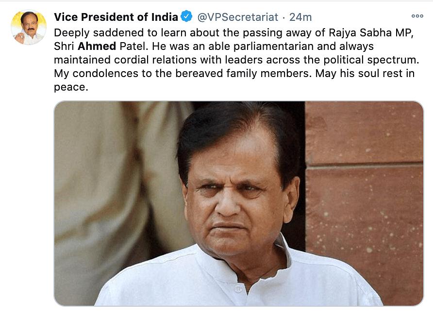 M. Venkaiah Naidu reacts to Ahmed Patel passing away