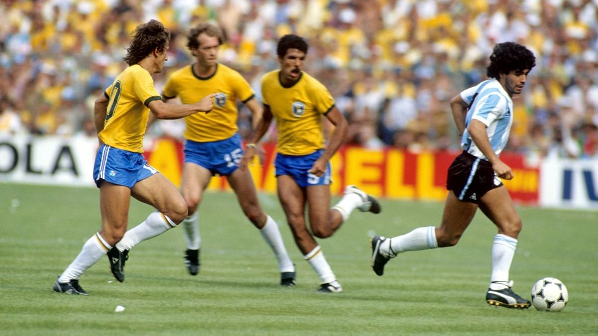 Maradona in action against Brazil.
