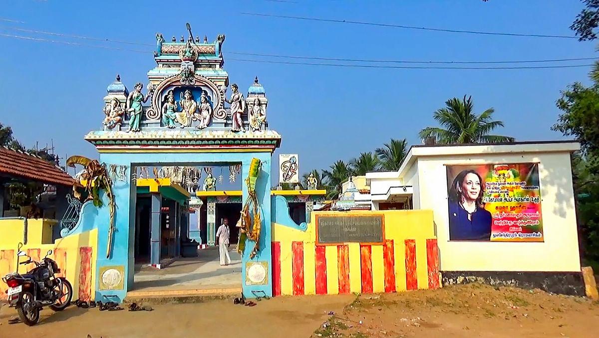 The Kula Deva temple where a special prayer was held for the victory of Democratic Vice-Presidential nominee Kamala Harris at Thulasendrapuram in Tiruvarur district.