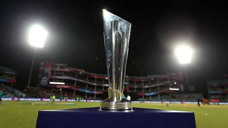 Men's T20 World Cup trophy on display.