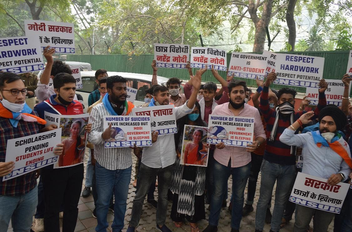 AISA and SFI protested in front of the Department of Science and Technology, demanding the resignation of Dr Harshvardhan.