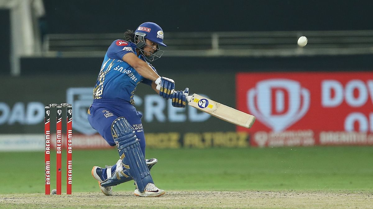 Ishan Kishan powers it through the off side during his knock in the IPL final.