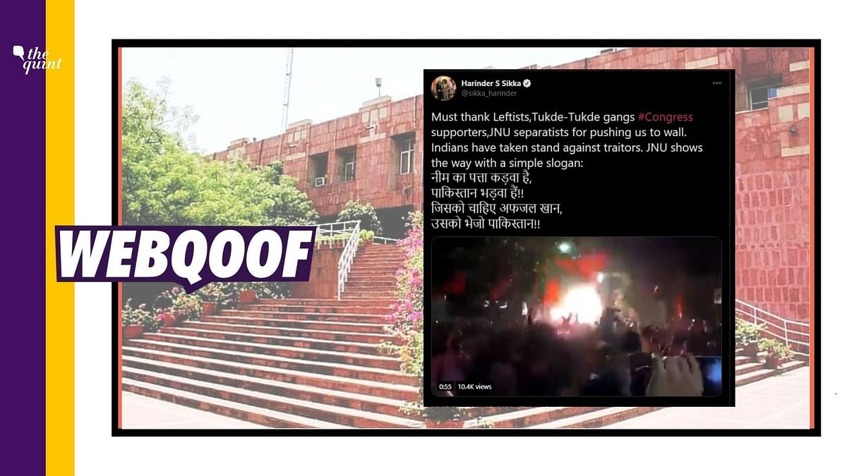 A viral video of a crowd waving saffron flags and raising anti-Pakistan slogans is being shared on social media with the claim that it is from JNU.