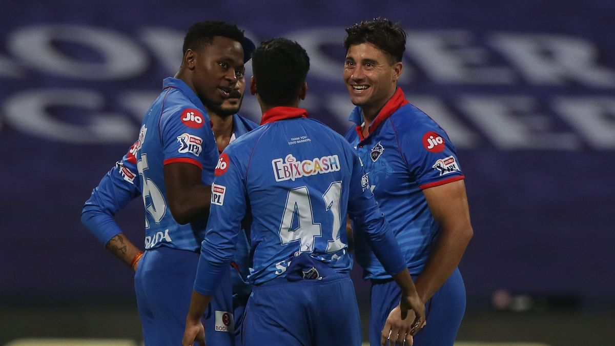 Delhi Capitals' players celebrate a 17-run win against SRH in Qualifier 2