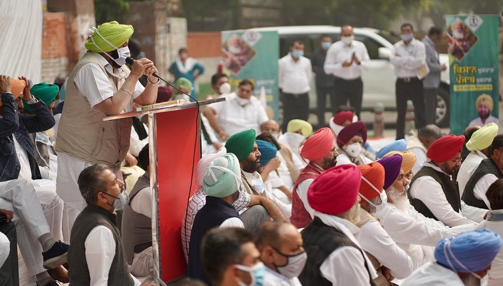 Punjab CM Amrinder Singh addresses media.