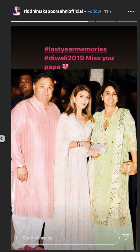 Miss You Papa: Ahead of Diwali, Riddhima Remembers Rishi Kapoor