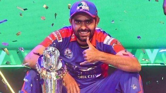 Babar Azam in celebratory mood after Karachi Kings won the PSL.