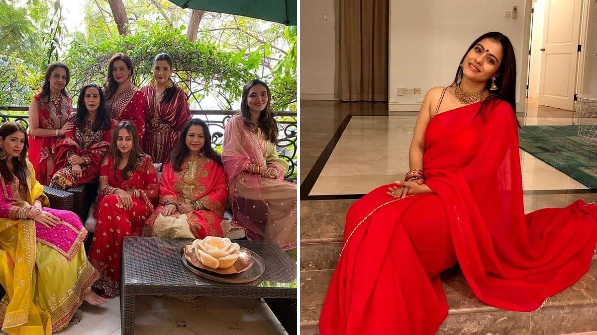 Kajol, Bipasha, Varun's Partner Natasha Celebrate Karva Chauth