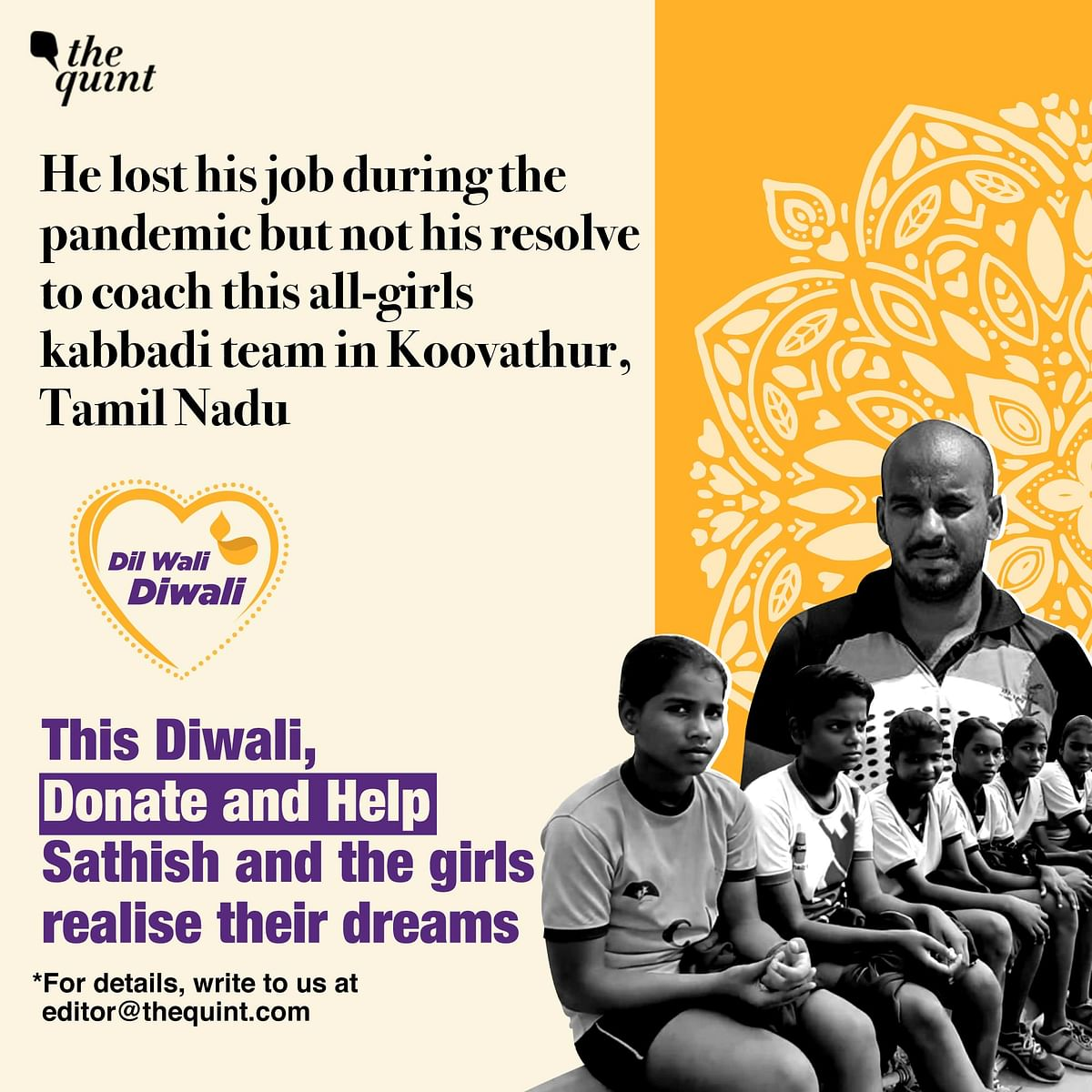 This Diwali, your donations can help Sathish build a sports academy to train many more girls for free.