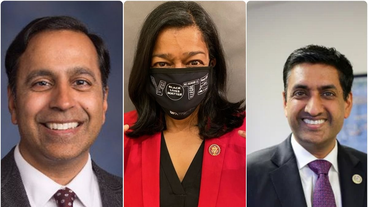 Indian-American politicians Raja Krishnamoorthy, Pramila Jayapal and Ro Khanna.