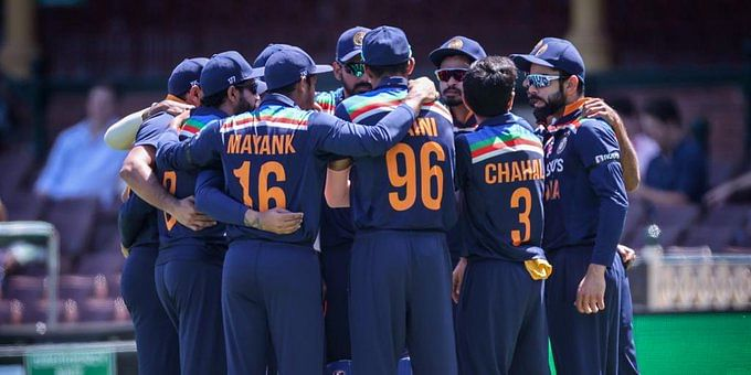 Indian cricket team in a huddle before the start of play in the first ODI.