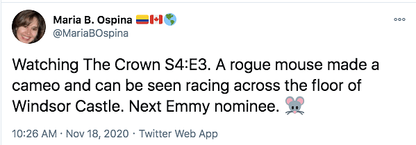Next Emmy Nominee: Running Mouse in 'The Crown' Has Twitter Amused
