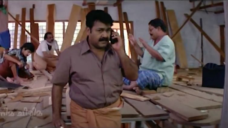 Mohanlal as a carpenter in <i>Rasathanthram.</i>