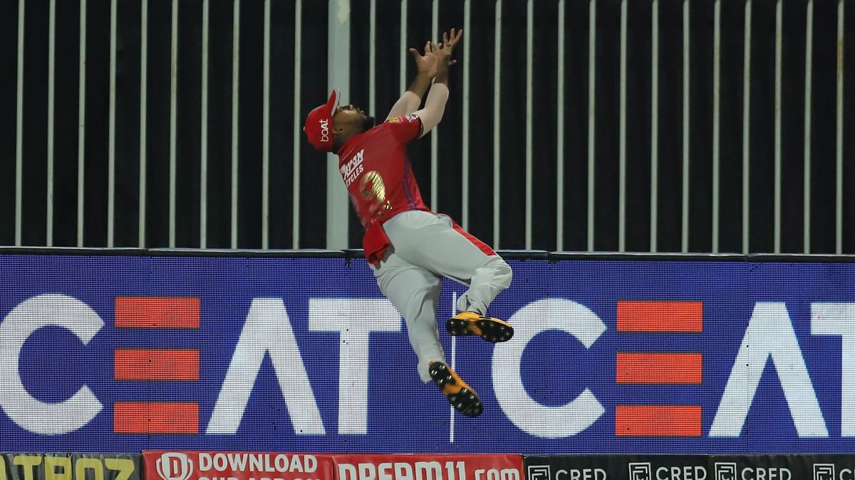Kings XI Punjab's Nicholas Pooran displayed an unbelievable piece of fielding during their Indian Premier League match against Rajasthan Royals.