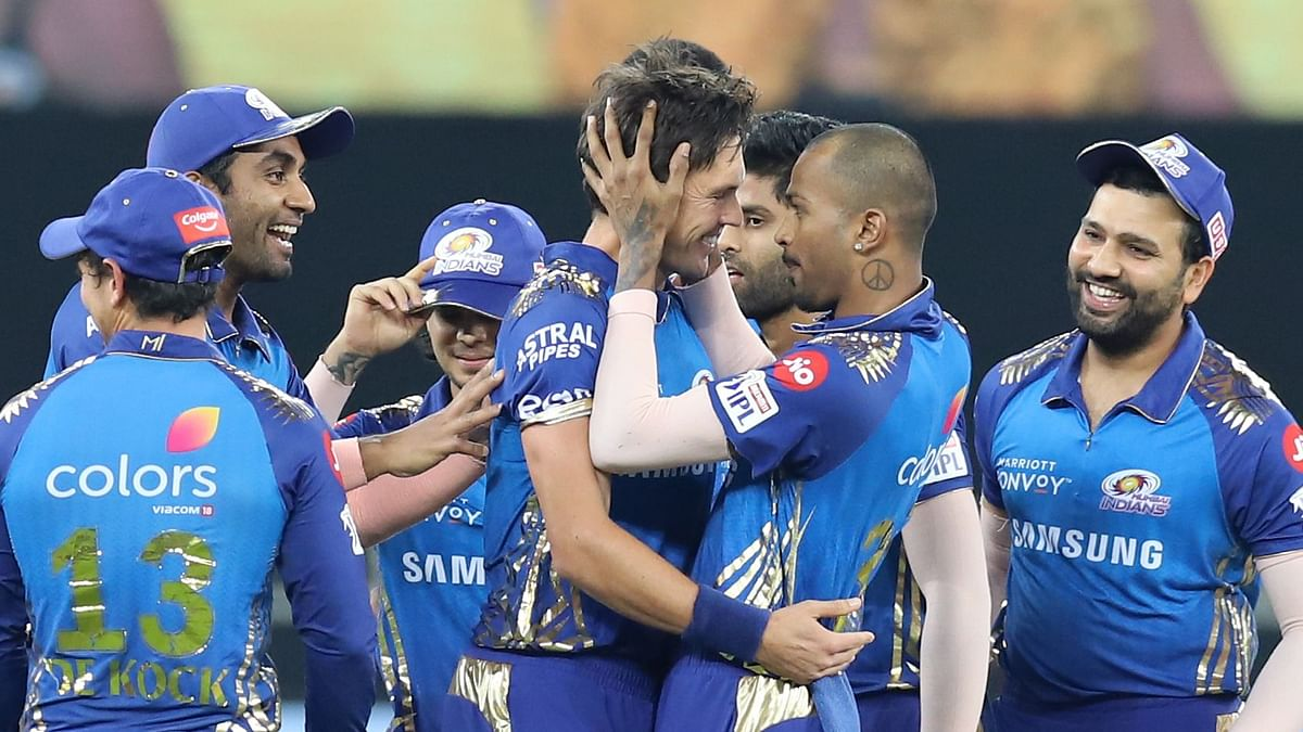 Trent Boult celebrates the wicket of Marcus Stoinis  during the final of the Dream 11 Indian Premier League (IPL) between the Mumbai Indians and the Delhi Capitals.
