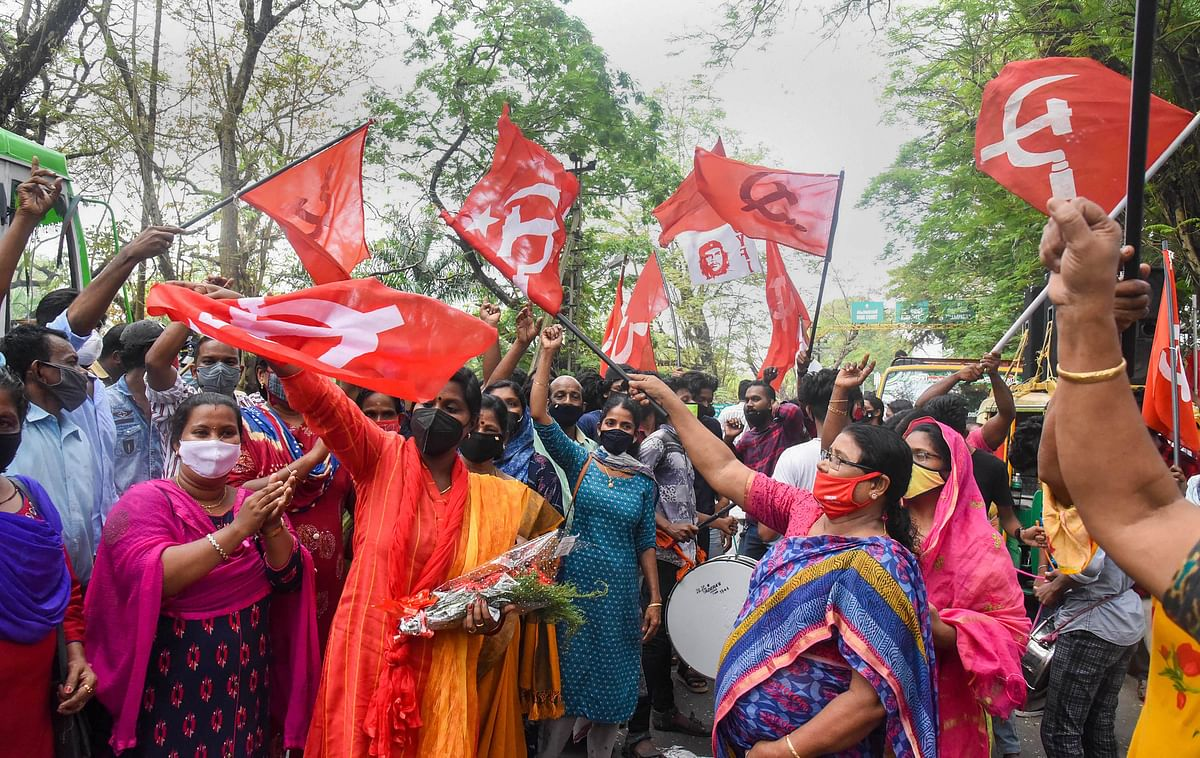 Left Democratic Front (LDF) supporters celebrate