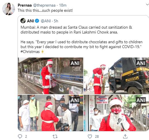 Mumbai Santa Claus Spotted Giving Masks Instead of Chocolates