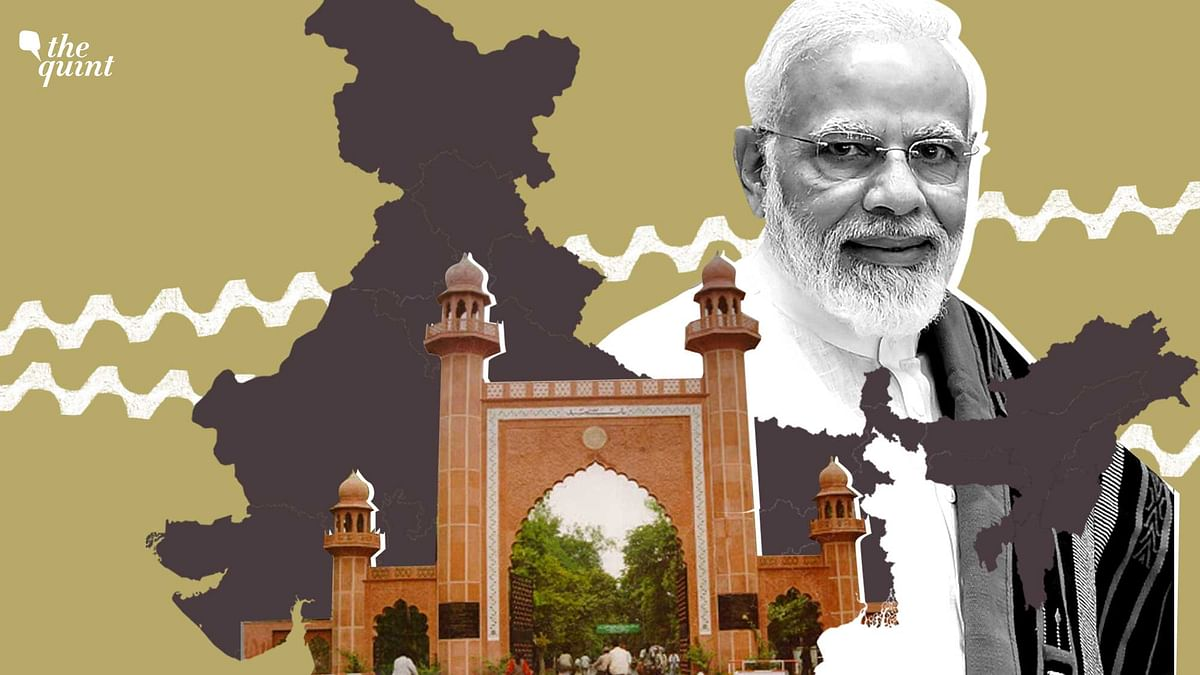 Image of PM Modi, map of India (in the background), and Aligarh Muslim University used for representational purposes.