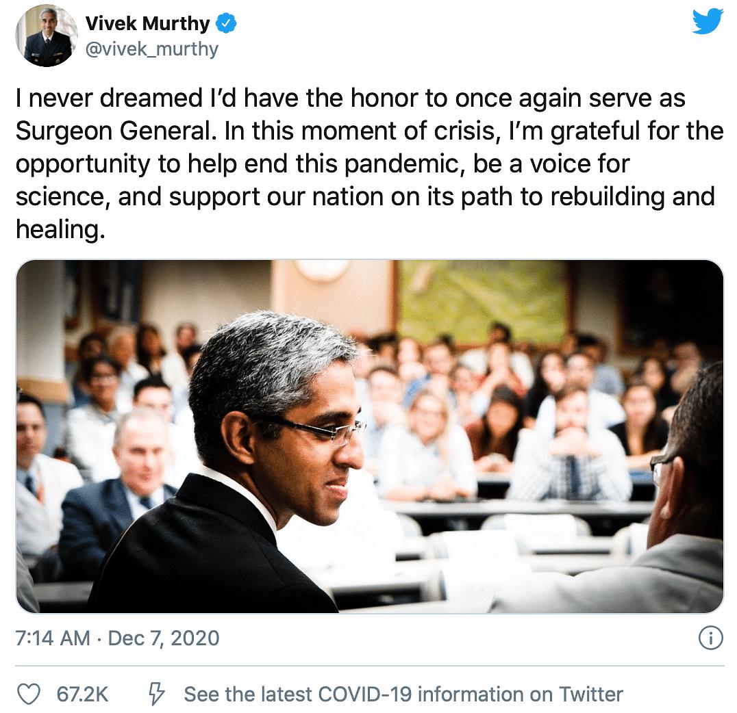 Dr Vivek Murthy to Return as US Surgeon General Under Biden