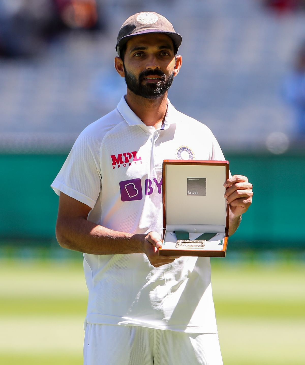 Ajinkya Rahane with Johnny Mullagh Medal, awarded to thePlayer of the Match for Boxing Day Test, 2020.