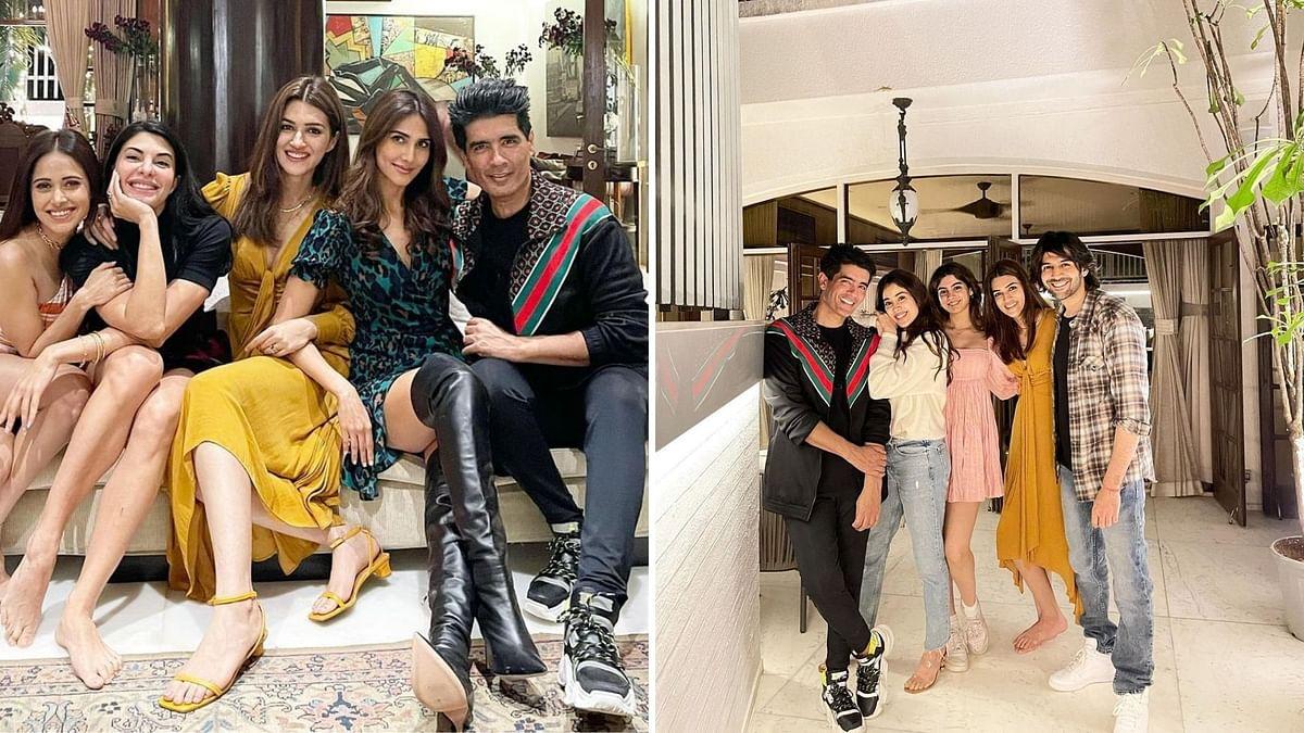 Pics: Janhvi, Kartik, Kriti Party at Manish Malhotra's House