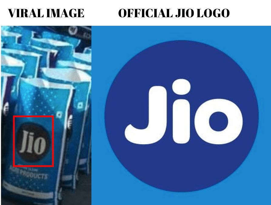 Left: Viral image. Right: Official Reliance Jio logo.