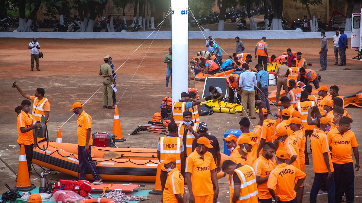 Tamil Nadu Disaster Response Force (TNDRF) personnel prepare themselves ahead of Cyclone Burevi, in Kanyakumari, Wednesday,  2 December, 2020