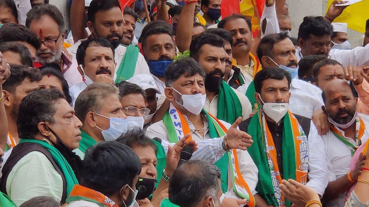 KPCC President DK Shivakumar at the protest.