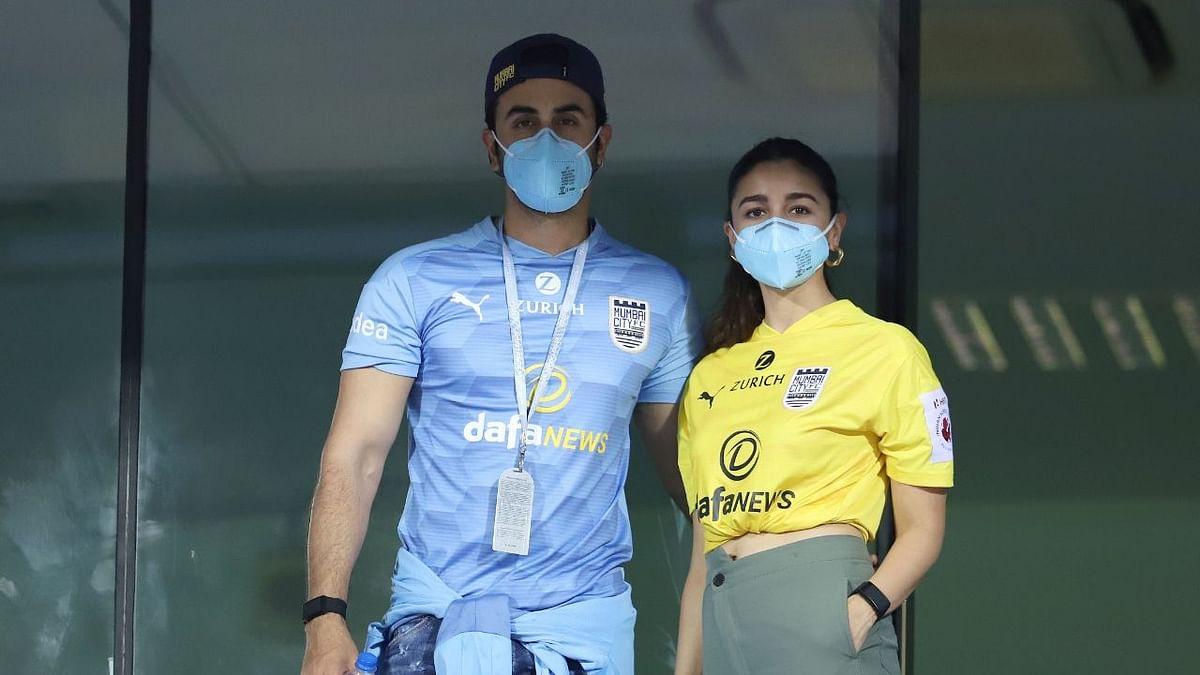 Alia Bhatt and Ranbir Kapoor during the Mumbai during the Mumbai City FC match in Goa.