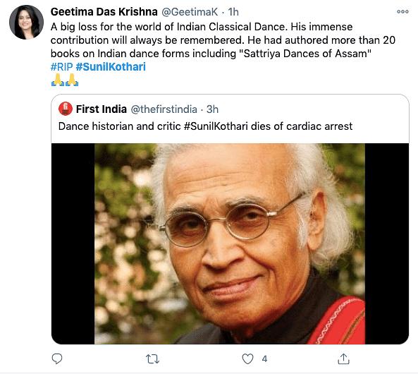 Dance Historian & Padma Shri Awardee Sunil Kothari  Passes Away