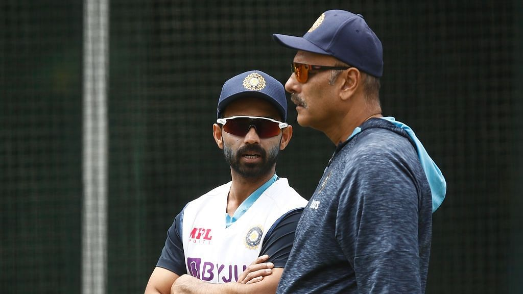 Ajinkya Rahane and Ravi Shastri in discussion during training in Melbourne.